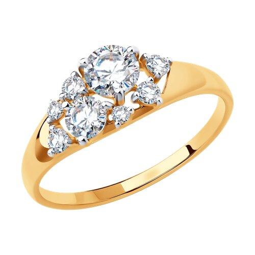 Кольцо из золота с фианитами Swarovski (81010458) - фото