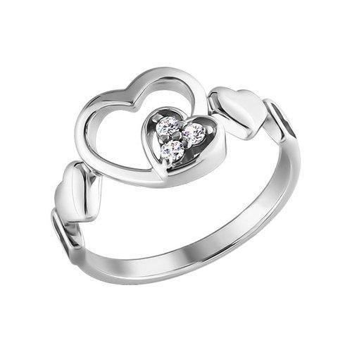 Фото - Серебряное кольцо с сердечками SOKOLOV серебряное кольцо с сердечками sokolov