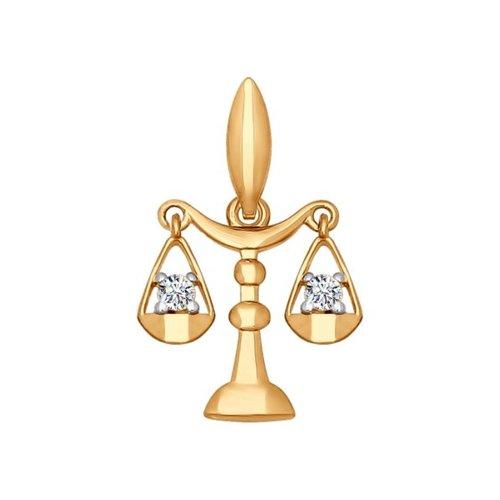 Подвеска «Знак зодиака Весы» с фианитами