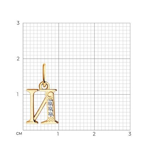 Кулон-буква «И» с фианитами (033819) - фото №2