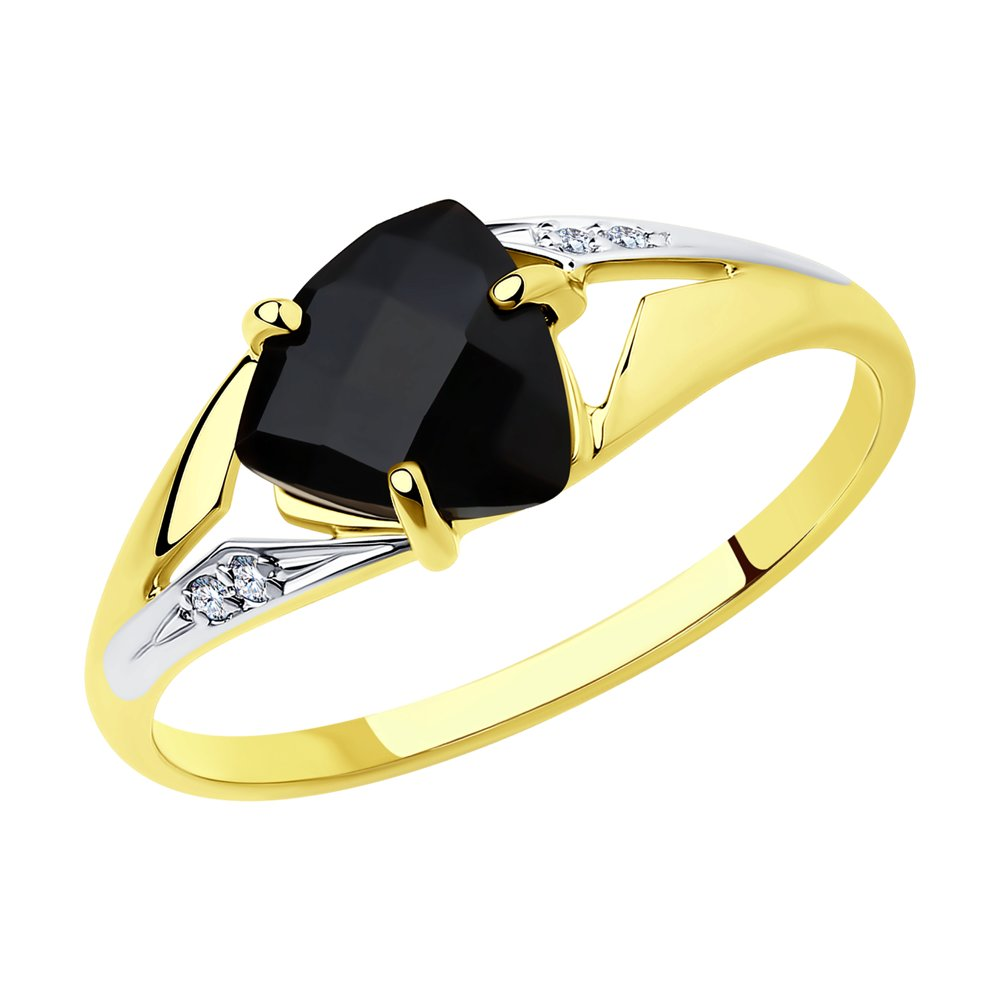 Кольцо SOKOLOV из желтого золота с агатом и фианитами