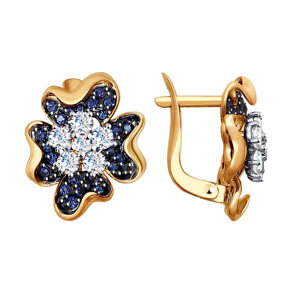 Серьги SOKOLOV из комбинированного золота с бесцветными и синими фианитами подвеска из комбинированного золота с бесцветными и синими фианитами