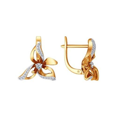 Серьги-цветок SOKOLOV из золота c бриллиантами серьги золотой цветок beatrici lux серьги золотой цветок