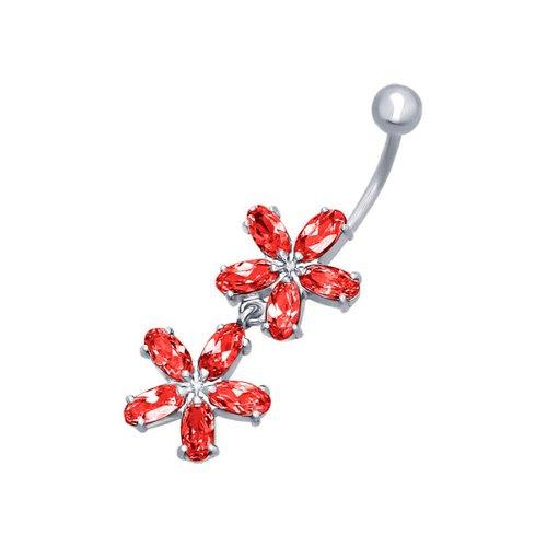 ювелирные серьги маркиз пирсинг в пупок Пирсинг в пупок c красными фианитами «Анемоны» SOKOLOV