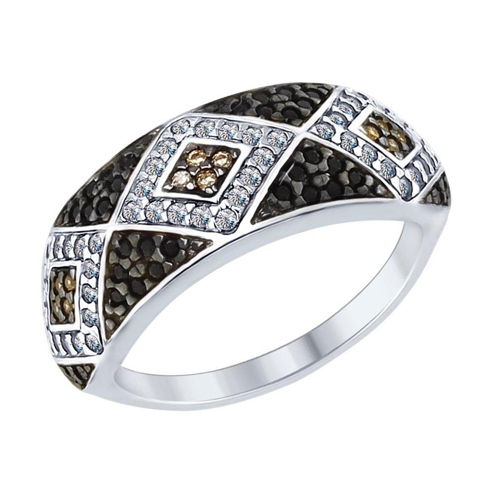 Кольцо SOKOLOV из серебра с бесцветными, коричневыми и чёрными фианитами золотое кольцо с чёрными и бесцветными фианитами sokolov