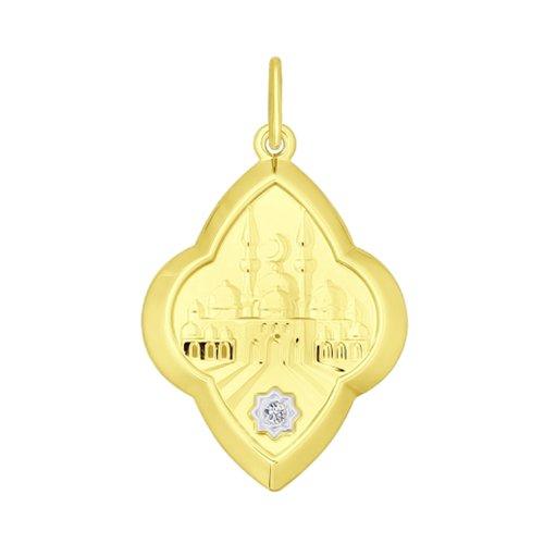 Подвеска из желтого золота с фианитом (034843-2) - фото