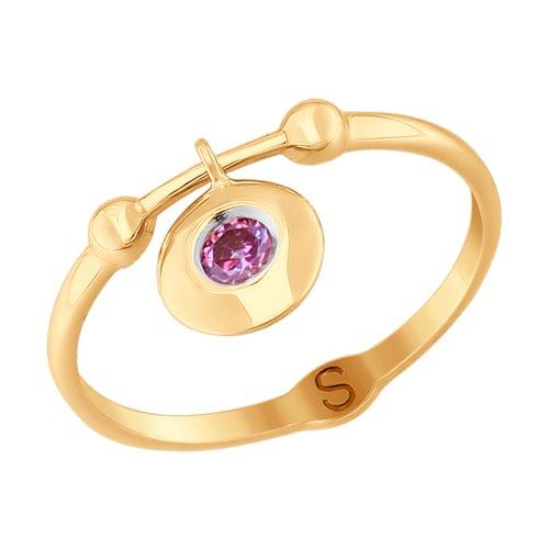 Кольцо из золота с фианитом (017756) - фото