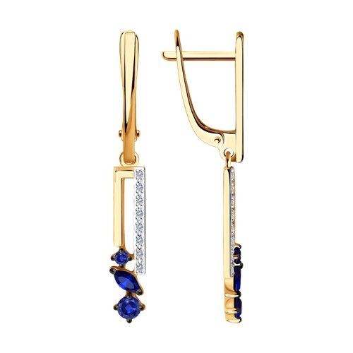 Сережки из золота с бриллиантами и сапфирами