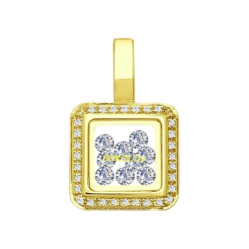Подвеска из желтого золота с минеральным стеклом и фианитами (035355-2) - фото