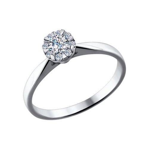 Кольцо из белого золота с бриллиантами (1011461) - фото