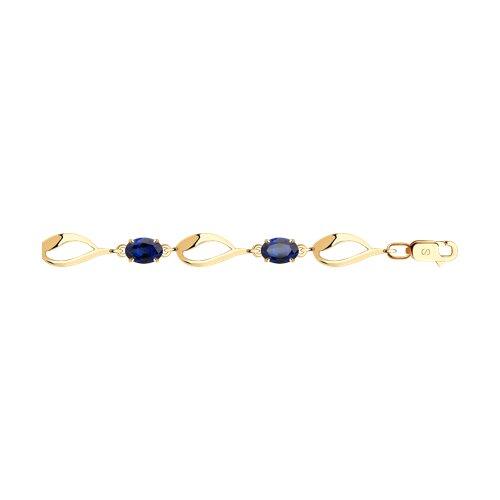 Браслет из золота с синими корунд (синт.) (750343) - фото