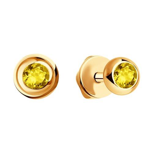 Серьги из золота с жёлтыми сапфирами (2020933) - фото №2
