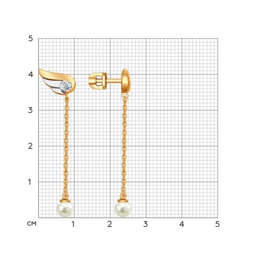 Серьги длинные из золочёного серебра с  и фианитами (93020657) - фото №2
