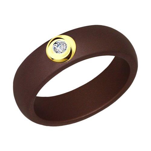 Кольцо из коричневой керамики с бриллиантом