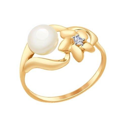 Кольцо из золота с жемчугом и фианитом