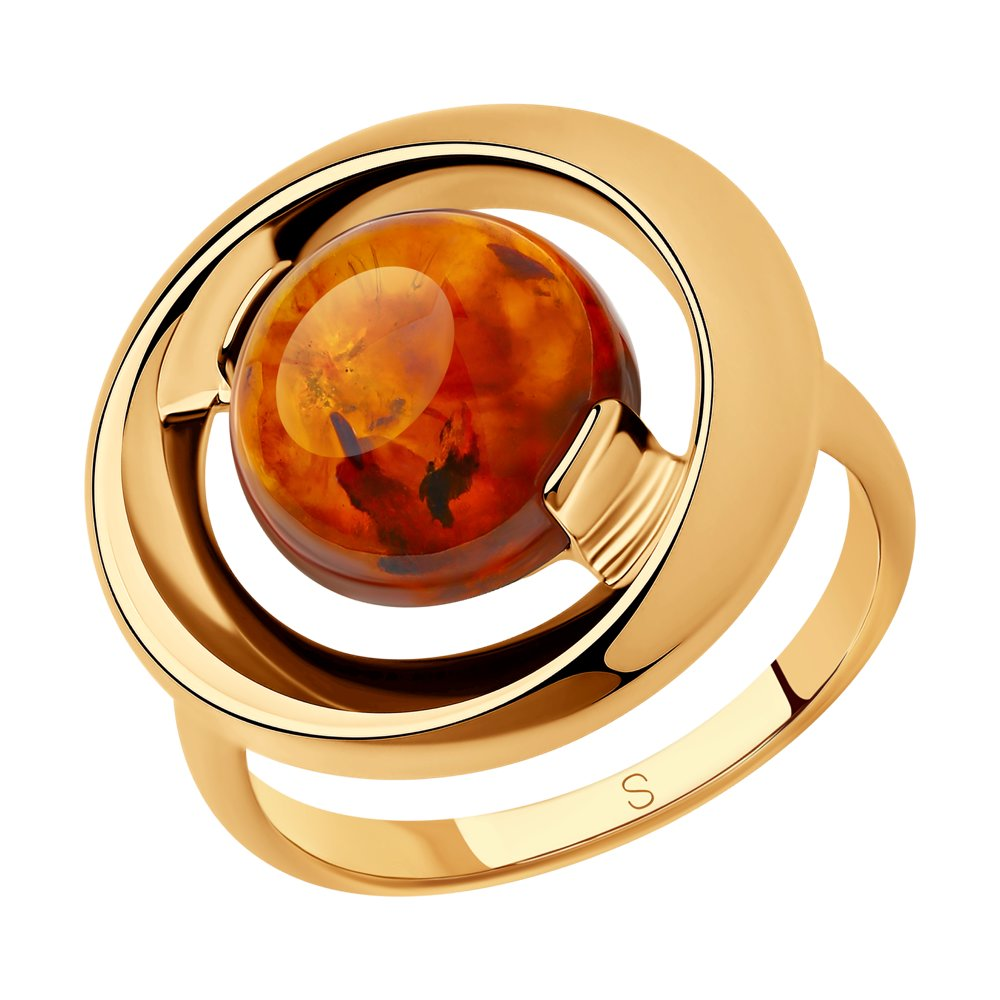 Кольцо SOKOLOV из золочёного серебра с янтарём