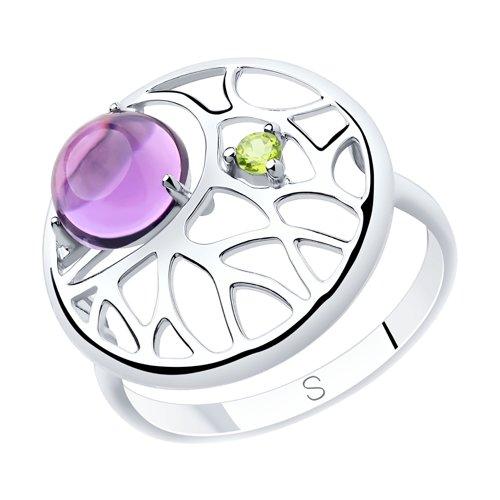 Кольцо из серебра с аметистом и фианитом (92011903) - фото