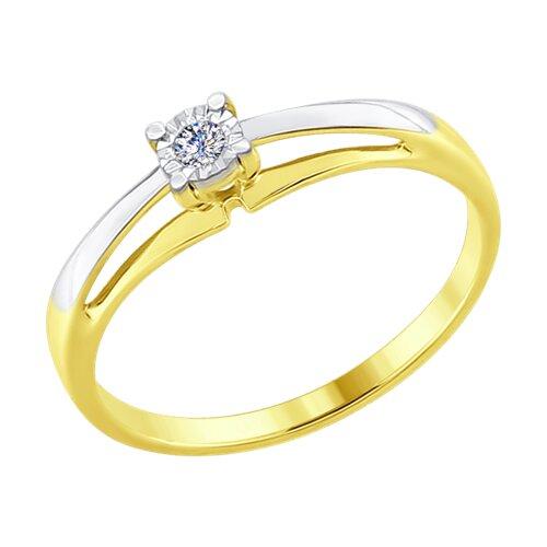 Кольцо из комбинированного золота с бриллиантом (1011559-2) - фото