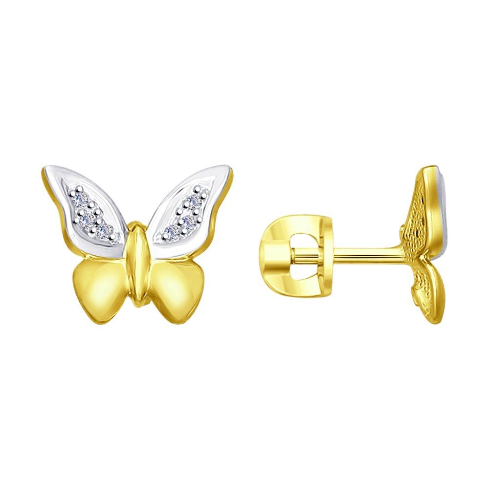 Фото - Золотые серьги с бриллиантами «Бабочки» SOKOLOV золотые серьги love sokolov