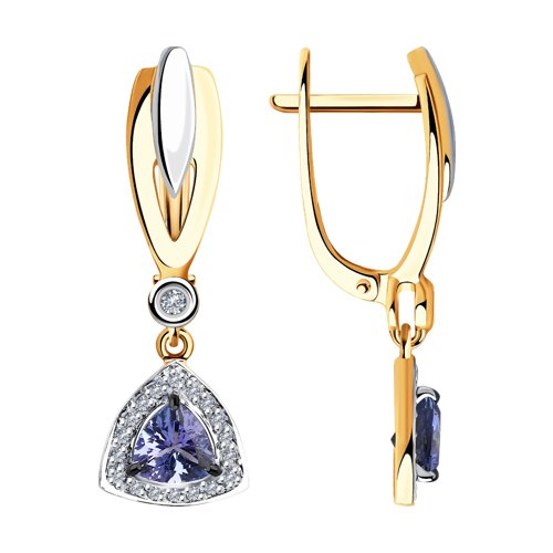 Серьги из золота с бриллиантами и танзанитами