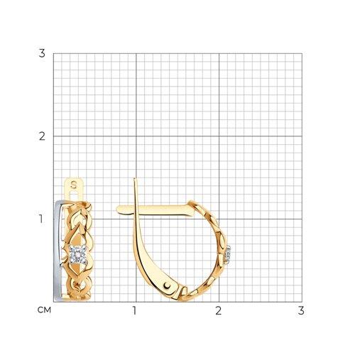 Серьги из золота с фианитами (027250) - фото №2