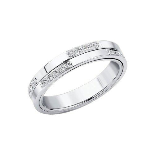 Фото - Обручальное кольцо SOKOLOV из белого золота с бриллиантовой дорожкой кольцо с дорожкой sokolov из чёрных бриллиантов