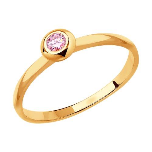 Кольцо из золота с розовым сапфиром (2011110) - фото
