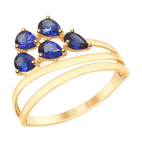 Кольцо из золота с синими корунд (синт.) (715335) - фото
