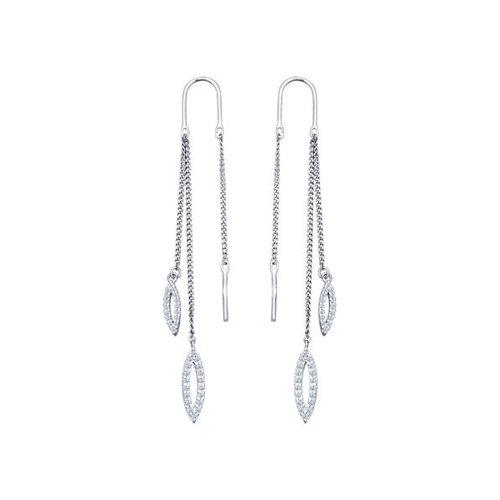 Серьги-цепочки SOKOLOV из серебра с фианитами