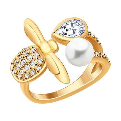 Кольцо из золочёного серебра «Пчёлка» (93010752) - фото