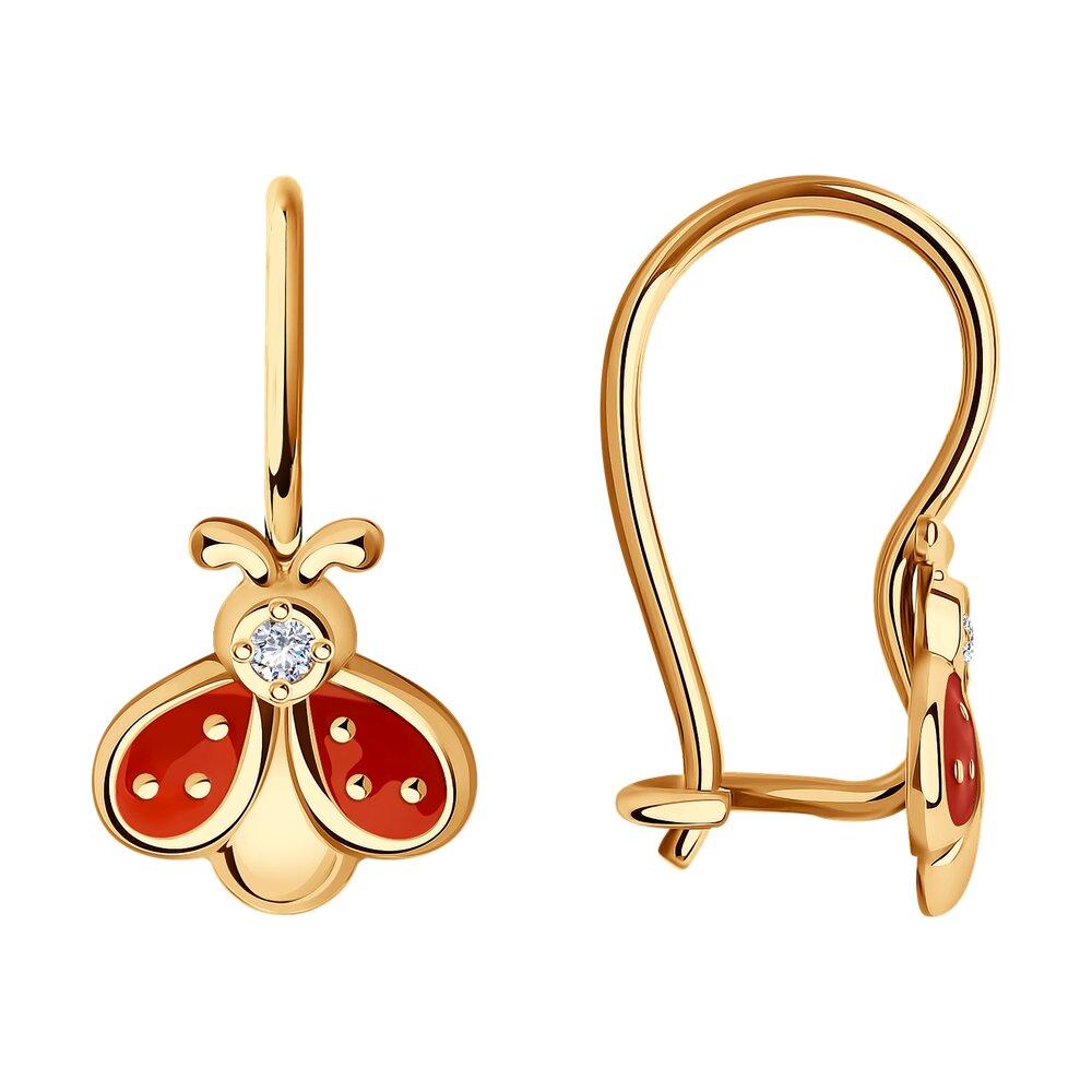 Серьги SOKOLOV из золота с эмалью и фианитами серьги цветы с фианитами и эмалью из красного золота