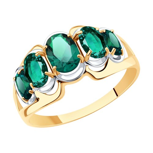 Кольцо из золота с изумрудом гидротермальным (715827) - фото