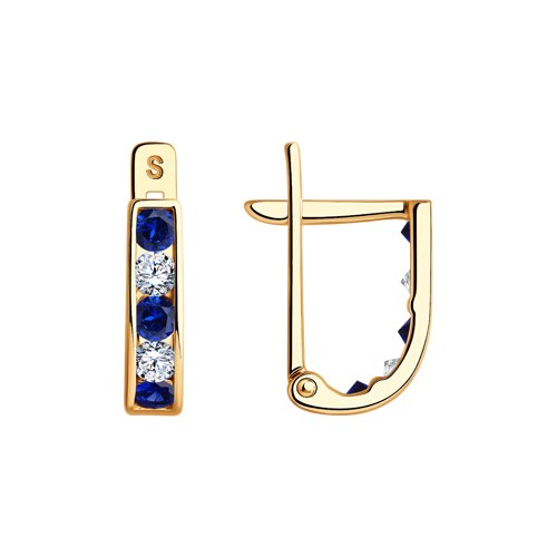 Серьги из золота с синими фианитами