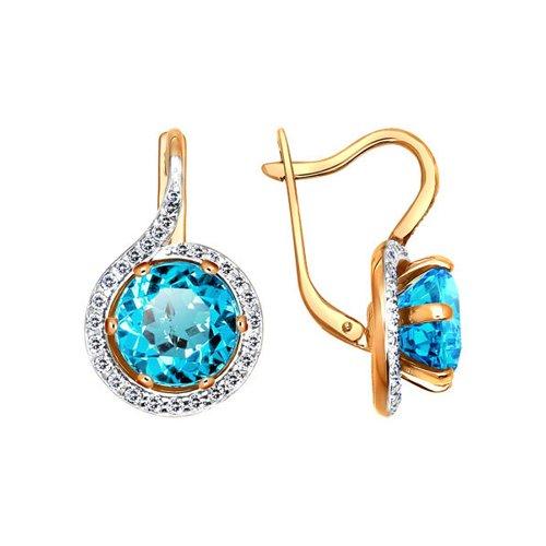 Женские золотые серьги с голубым топазом в окружении фианитов