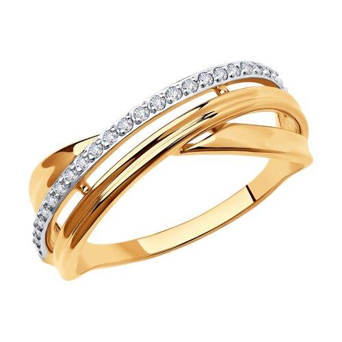 Кольцо из золота с фианитами 018553 sokolov фото