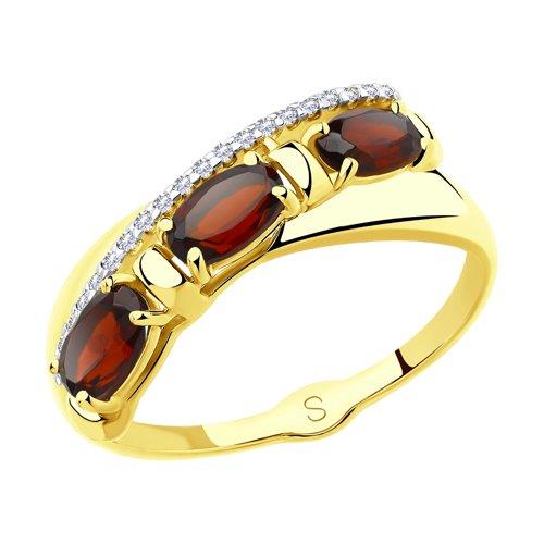 Кольцо из желтого золота с гранатами и фианитами (715480-2) - фото