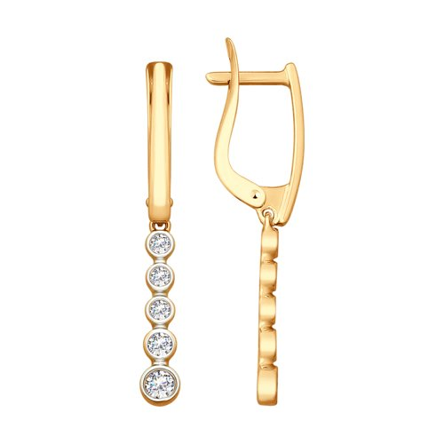 Серьги из золота с фианитами (027961) - фото