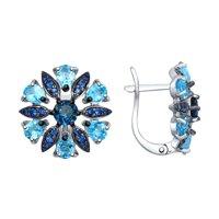 Серьги из серебра с голубыми и синими топазами и синими фианитами