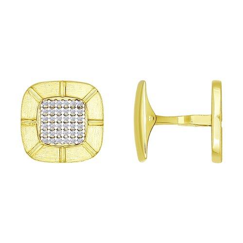 Запонки из желтого золота с фианитами (160014-2) - фото