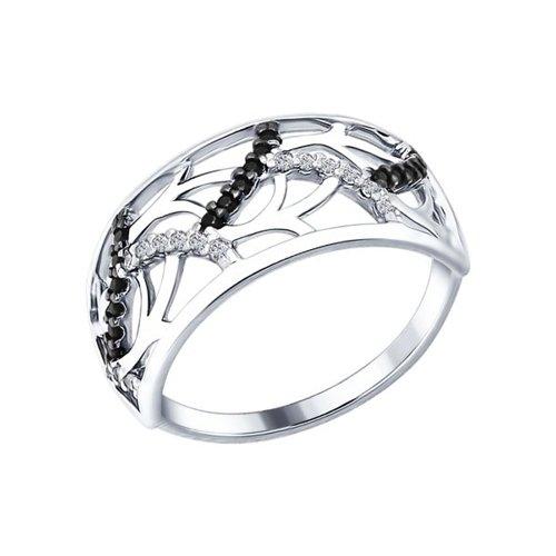 Кольцо из серебра с бесцветными и чёрными фианитами