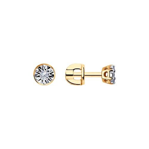Серьги-пусеты из комбинированного золота с алмазной гранью с бриллиантами