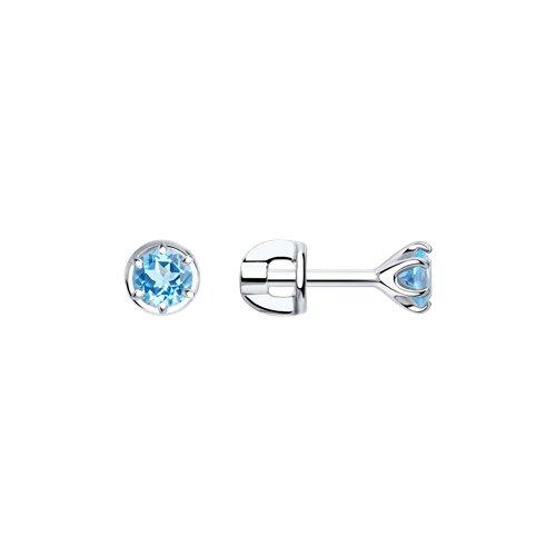 Серьги из серебра с фианитами (94023123) - фото
