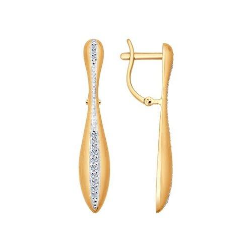 Длинные серьги из золота с дорожкой бриллиантов