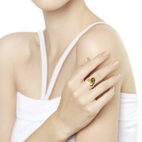 Кольцо из золота с раухтопазом и жёлтыми фианитами