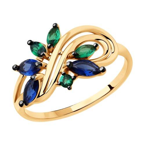 Кольцо из золота с фианитами (018393) - фото