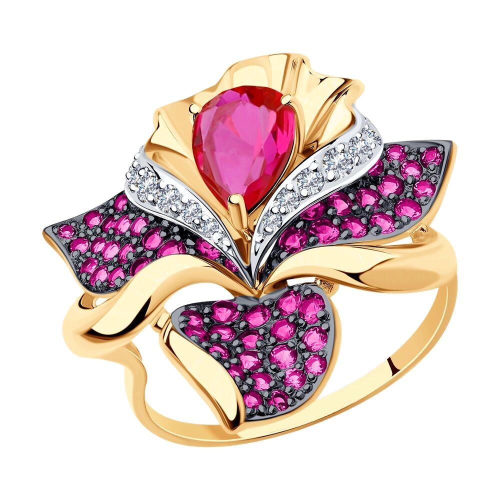 Кольцо SOKOLOV из золота с красными корундами и фианитами фото