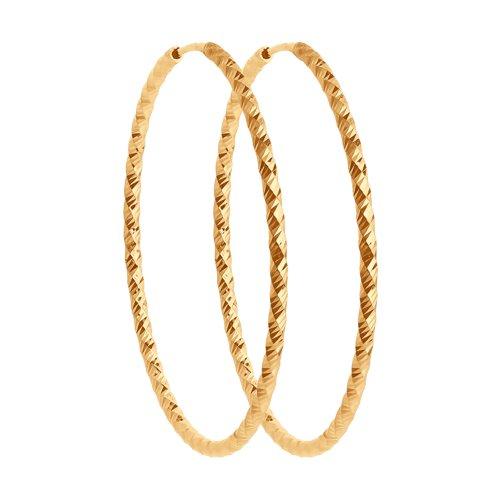 Серьги конго из золота с алмазной гранью (140157) - фото