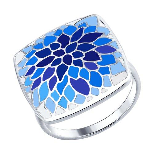 Кольцо из серебра с эмалью (94012556) - фото