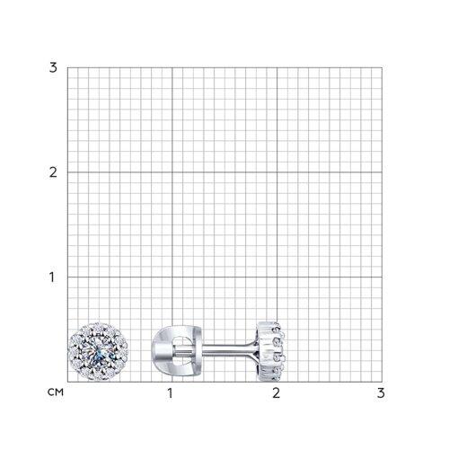 Серьги-пусеты из серебра с фианитами (94021887) - фото №2
