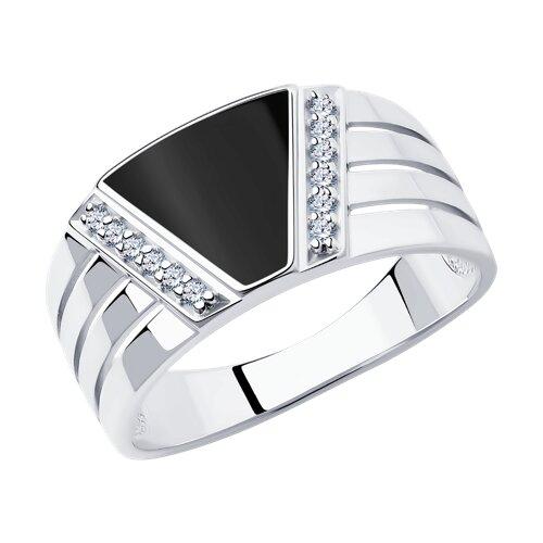 Кольцо из серебра с эмалью с фианитами (94012005) - фото